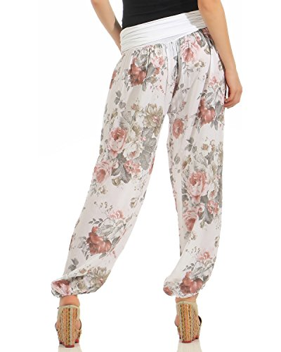 ZARMEXX Damen Pumphose Pluderhose Harem-Stil Sommerhose all over Print Freizeithose Aladinhose Hose One Size Blumen-weiss