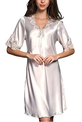 KE1AIP Elegante Damen Satin Spitze Nachthemd Sexy V-Ausschnitt Dessous Soft Nachtwäsche (L, Lotus root pink / white)