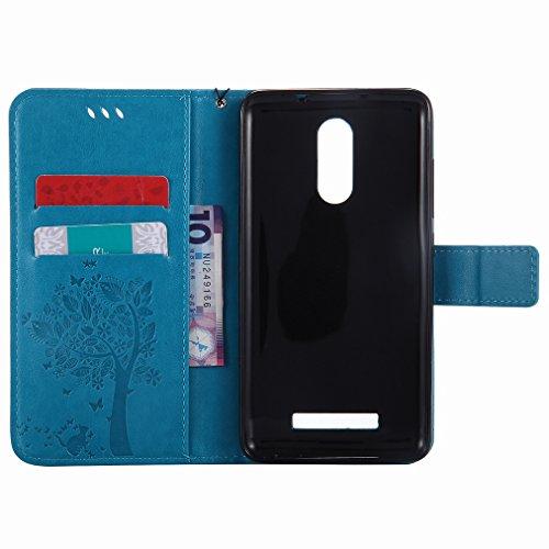 Custodia Xiaomi Rossomi Note 3 / Rossomi Note 3 Pro Cover Case, Ougger Fortunato Foglia Stampa Portafoglio PU Pelle Magnetico Stand Morbido Silicone Flip Bumper Protettivo Gomma Shell Borsa Custodie c Azzurro