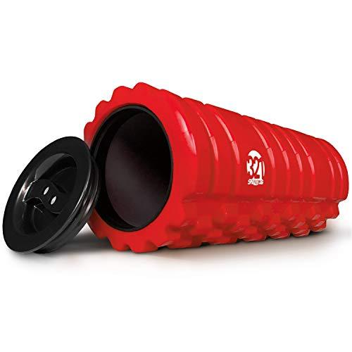 321 Starker Schaumstoff-Roller für Muskelmassage mit Endkappen, für Schlüssel, Handtücher und anderes Zubehör, Schwarz, Rot, Blau, Pink, rot -