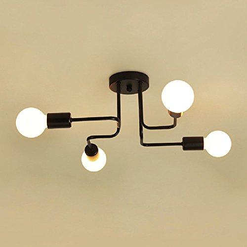 Hines Retro Industrial 4-Luces de Hierro Metal luz de Techo Vintage Personalidad...