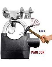 Krupalu Lock high-Grade Steel Alarm Lock high Security Design Motion Sensor Heavy Duty Siren Alarm Padlock - 1 Pc (Black Color)