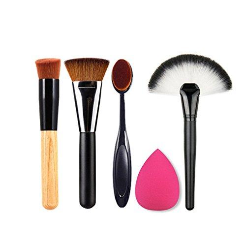 Gesicht Foundation (HENGSONG 4 Teilig Makeup Pinsel Set Gesicht Foundation Kosmetik Pinsel Zahnbürste mit 1 Teilig Schwamm)