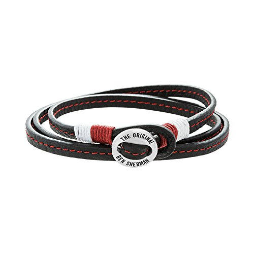 Ben Sherman Men's Stainless Steel Disc Red & White Cord Black Leather Wrap Around Bracelet -