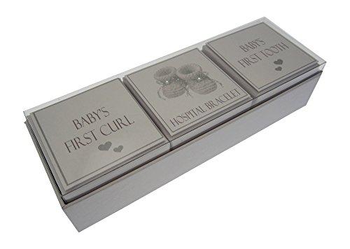 Box zum Aufbewahren der ersten Baby-Locke, des Armbands und Zahns von White Cotton Cards