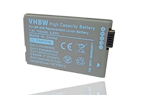 vhbw Li-Ion Akku (7.4V) für Kamera, Video, Camcorder Canon DC10, DC20, DC21, DC40, DC50, DC95, DC100, DC210, DC220, DC230 wie BP-208, BP-308.