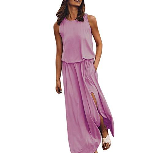Beikoard Mode für Frauen Sexy Sommer beiläufiges ärmelloses O-Ansatz festes Gabel Öffnungs Kleid