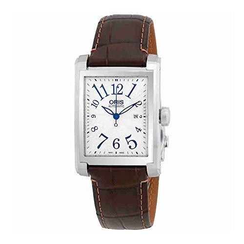Oris rettangolare automatico argento quadrante mens orologio 0156176574061LS
