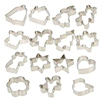 Christmas Cookie Cutter Set-15 Piece Biscuit Cutters,Christmas Tree,Gingerbread Man,Bell,Heart Shaped,House,Angel,Snowman,Bear,Rabbit,Snowflake,Shamrock,Flower,Bird for DIY Cake, Biscuits Baking