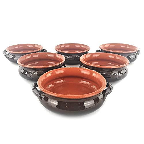 6-teiliges Set aus Steingut Apulia - 6 Schalen mit Griffen Ø 14 oder 17 cm - Colì Ø cm 14 braun