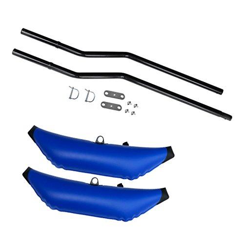 Especificación:      Estabilizador inflable Kayak:  Material: PVC  Longitud: Aprox. 90 cm / 35,4 pulgadas  Ancho: Aprox. 28 cm / 11 pulgadas  Color azul  Cantidad: 2 Piezas  Estabilizador de Kayak Polo flotante:  Material: Aleación  Longitud ...