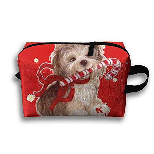 Terrier Christmas Travelling Clutch Pouch Cosmetics Case For Women Zipper Designer Fabric Hair Tie