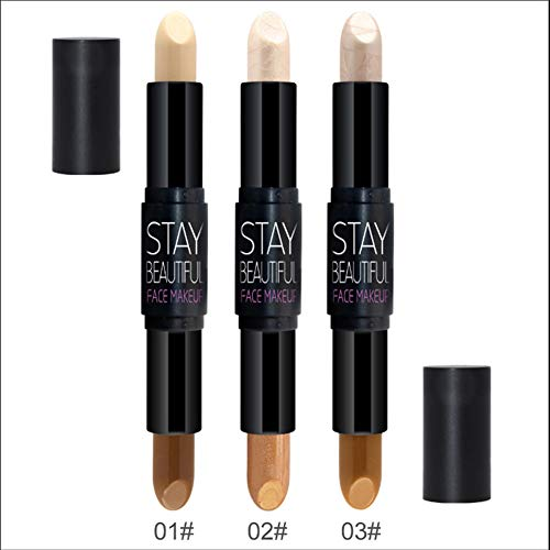 ETbotu Highlight Stick Concealer-Stift,Doppelköpfiger beleuchtender Erstellen Sie ein 3D-Gesichts-Make-up nacktes Gold + Bronze - Nackt Bronze
