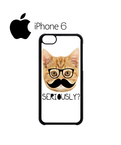 Moustache Cat Ginger Kitten Geek Swag Mobile Phone Case Back Cover for iPhone 6 White Weiß