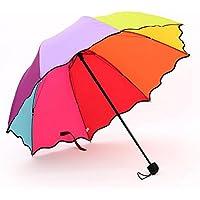 ToxTech Arcobaleno Ombrello, multicolore pieghevole Umbrella addensare lega di alluminio Ombrello Triplice viaggio ombrello - Copertura Della Pioggia Arcobaleno