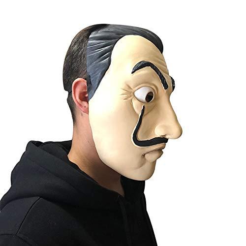 JYYC La Casa De Papel Maske Salvador Dali Latex Cosplay Maske Halloween Realistische Erwachsene Party Requisiten Masken (Realistische Masken Halloween Für)