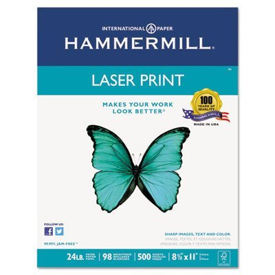 Laser Print Office Paper, 98 Brightness, 24lb, 8-1/2 x 11, White, 500 Sheets/Rm, Sold as 1 Ream, 500 per Ream by Hammermill (24 Print Lb Hammermill Laser)