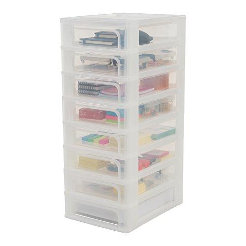 Iris Organizer Chest OCH-2080 Schubladencontainer-/ schrank, Kunststoff, frostweiß / transparent, 35,5 x 26 x 65,5 cm (Kleiner Schrank Schreibtisch)