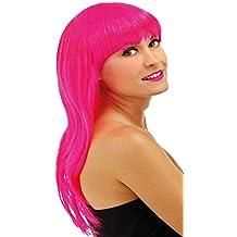 Folat Peluca Pelo Largo Rosa con Pony Carnaval Halloween fastnacht