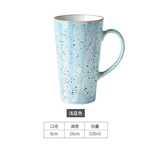 Becher Kaffeetassen Tassen Trinken Sie Den Einfachen Keramischen Becher-Trinkbecher Der Großen Kapazität Haushaltskaffeetasse Der Art Der Art Und Weisepaarschale, Hellblau