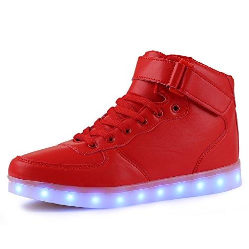 TULUO Kind u. Männer u. Frau USB-aufladende LED 7 Farben-helle hohe SpitzenSneakers...