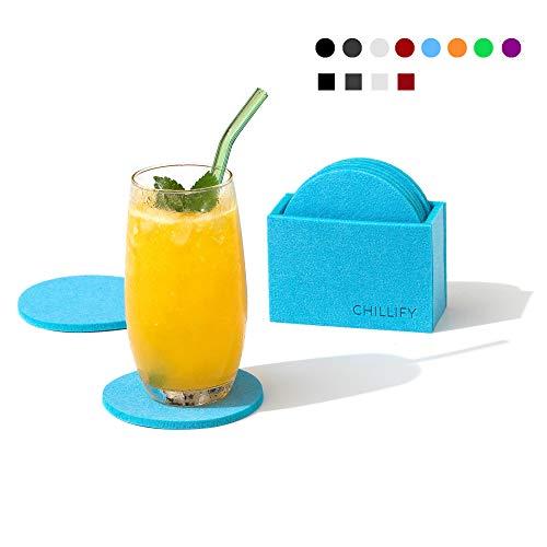 chillify Filz-Untersetzer 8er Set für Getränke/Gläser mit Aufbewahrungs-Box - Rutschfester hitzebeständiger waschbarer Glasuntersetzer - Rund, Blau, 10cm - absorbierend für Becher, Bier, Tisch, Bars -