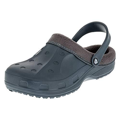 2Surf Gefütterte Herren Clogs Winter und Sommer Schuhe mit herausnehmbarem Futter M477gr Grau 45 EU