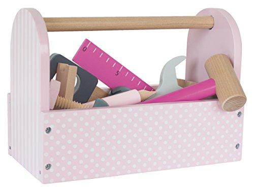 """JaBaDaBaDo \""""Werkzeugkiste rosa grau Spielkiste Werkzeug Spielbox Werkzeugkasten Werkzeugkoffer Holzwerkzeug Holz Kinderspiel Spielzeug Kinder Mädchen"""