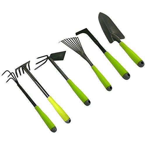 Garten-Werkzeug-Set 6-teilig Garten-Geräte Doppelhacke, Handschaufel, Kleingrubber, Kleinbesen, Fugenkratzer, Kleinrechen