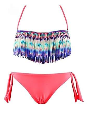 Maillot de Bain Femme Bikini 2 pièces Fluo Bandeau à Franges