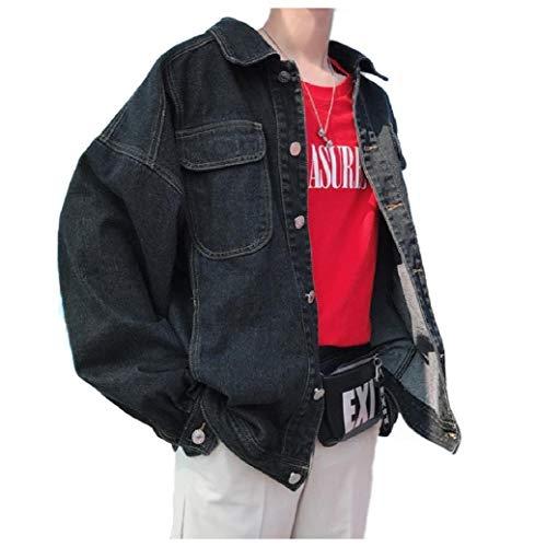 Big Tall Jeans Jacken (CuteRose Mens Loose Retro Big & Tall Distressed Denim Jean Trucker Jacket Black S)