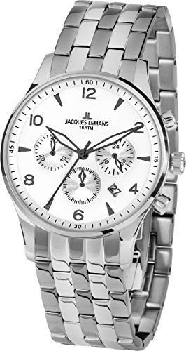 Jacques Lemans Hommes Chronographe Quartz Montre avec Bracelet en Acier Inoxydable 1-1654ZF