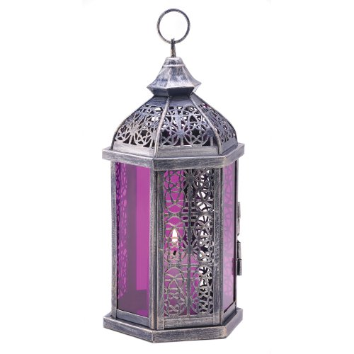 Gifts & Decor Antik Zinn-Finish Enchanted Amethyst Kerze Laterne