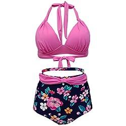 b21e2ce94a GWELL Femme Vintage Biniki Taille Haute Push Up Maillot de Bain Rétro 2  Pièces Dos Nu