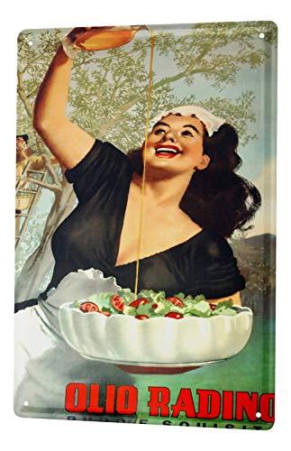 LEotiE SINCE 2004 Blechschild Wandschild 30x40 cm Vintage Retro Metallschild Küche Olivenöl Italien