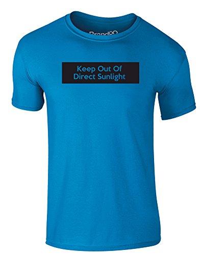 Brand88 - Keep Out of Direct Sunlight, Erwachsene Gedrucktes T-Shirt Azurblau/Schwarz