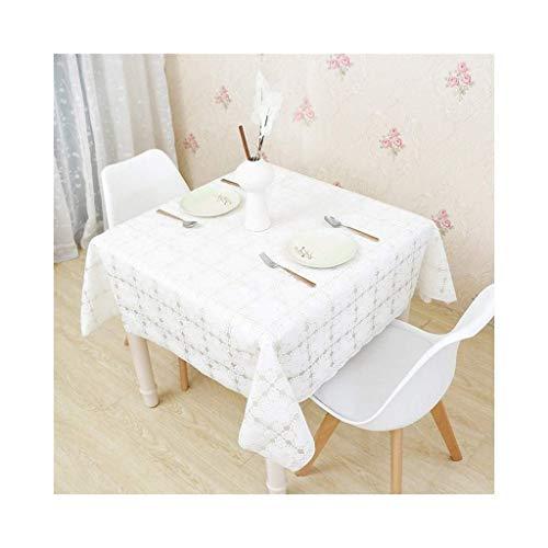 Wasserdichtes, leicht zu reinigendes, rechteckiges, bedrucktes PVC-Plastik-Picknicktisch-Cover für Urlaubsessen (Farbe: Weiß, Größe: 137 * 137 cm)