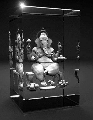 3D Glas Kristall Quader I Ganesha | Hinduismus Buddhismus Hindi Buddha graviert in einen Glaskristall . Abmessungen 80x50x50mm