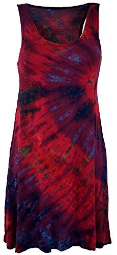Guru-Shop Batik Minikleid, Tank-Kleid, Hippiekleid, Damen, Pink, Viskose, Size:38, Kurze Kleider Alternative Bekleidung