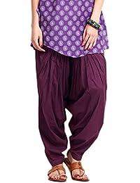 Kurti Studio Women's Cotton Semi Patiala Salwar (semip05_Purple_Free Size)