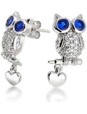Bling Jewelry simulierten Sapphire CZ Eule Herz Ohrstecker Silber 925