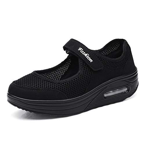 c4a8d92be084ec LILIHOT Frauen leichte atmungsaktive Mesh-Schuhe erhöht Freizeitschuhe  Outdoor Casual Sportschuhe Dickes Ende Erwachsene Straße Laufen bequem  ultraleichte ...