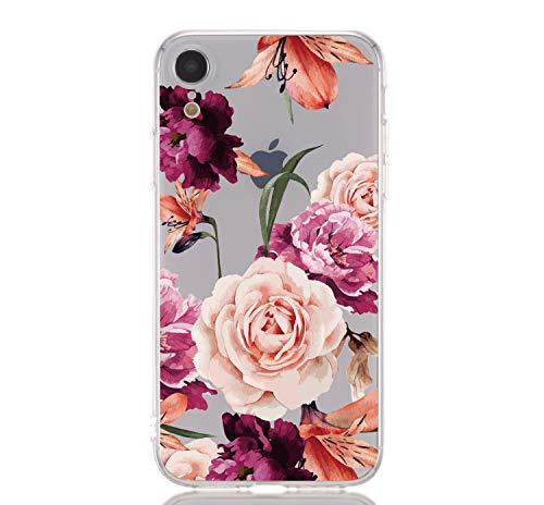 """Miagon Transparent Handyhülle für iPhone Xr 6.1"""",Silikon Hülle für iPhone Xr 6.1"""", Schön Kreativ Lila Rose Blume Muster Weiche Silikon Schutzhülle für iPhone Xr 6.1"""""""