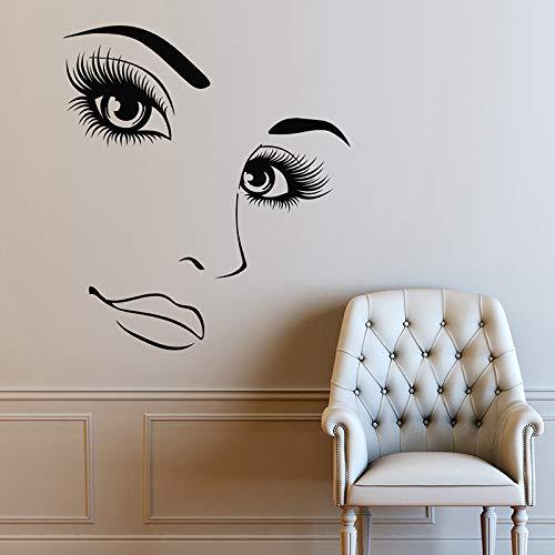 hetingyue ciglia lunghe beauty lady remover vinile adesivo camera da letto soggiorno art deco poster 63x72cm
