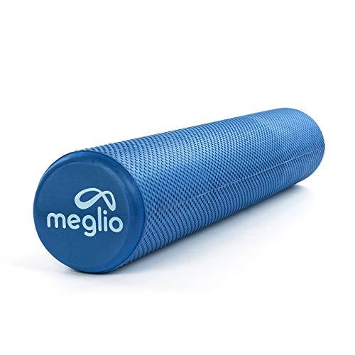 Meglio Rodillo de Masaje de Alta Densidad (90cm). Ideal para Masajes y Liberación Miofascial Fitness, Yoga, Pilates. Color Azul con guía de Ejercicio Gratis
