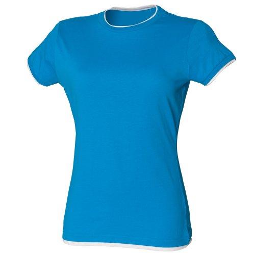 Skinni Fit langes Damen-T-Shirt, kurzärmlig Saphirblau/Weiß