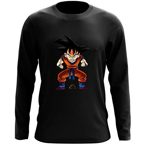 Okiwoki T-Shirt à Manches Longues Noir Dragon Ball Z - DBZ parodique Sangoku : Super Caca - Vol.1 (Parodie Dragon Ball Z - DBZ)