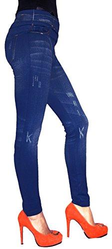 Leggings warme in Jeans Baumwolle Loock Optik Super Stretch Weich Betonte Blau 02