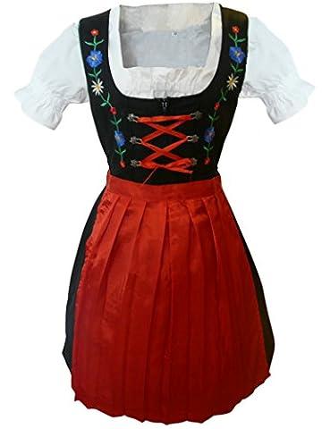 Di11 Midi Dirndl, 3 teiliges Trachtenkleid in rot schwarz mit Blumenstickerei, Kleid mit Bluse und Schürze, Rocklänge 55-59 cm, Gr. 38