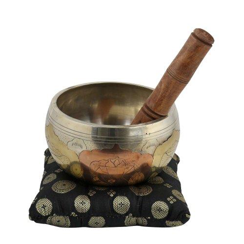 Bol chantant en laiton avec mailloche en bois - Instrument de musique hindoue pour méditation et relaxation Bouddhiste - Diam. 12,7 cm